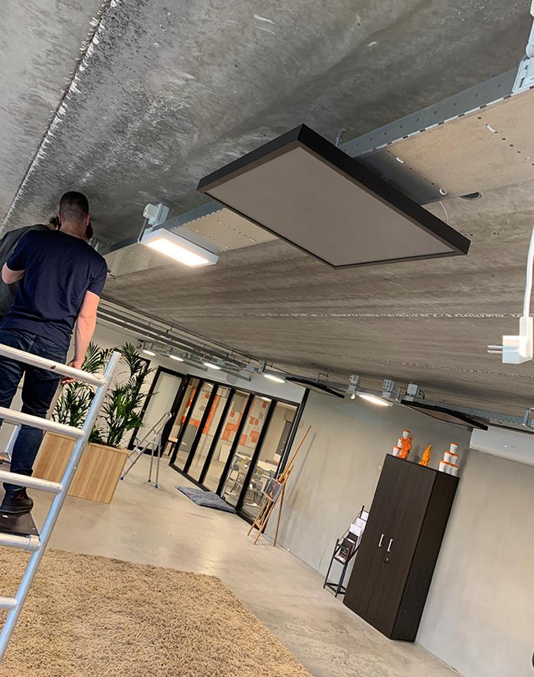 plafond montage, Infrarood, verwarmen, van het gas af, warmtenet, warmtepomp, duurzaam,
